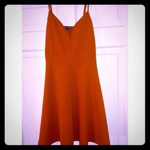 Rust  plunged swing dress